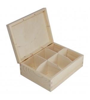 Pudełko z drewna na 6 herbat